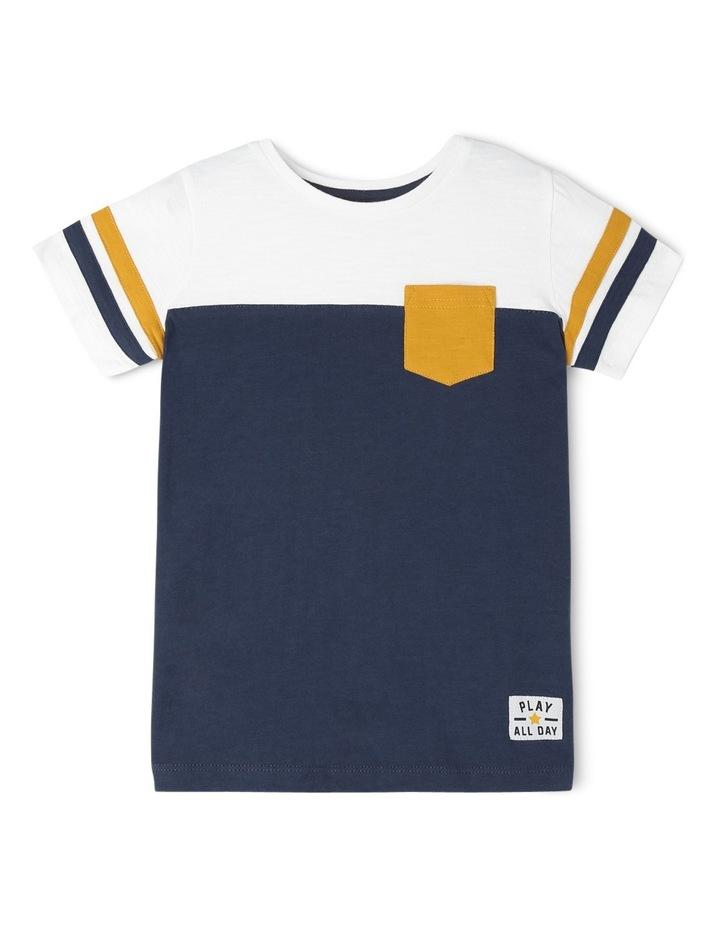Jake Short Sleeve Tee With Contrast Stripe Sleeves Navy/Ivory/Mustard Boys 1-6 image 1