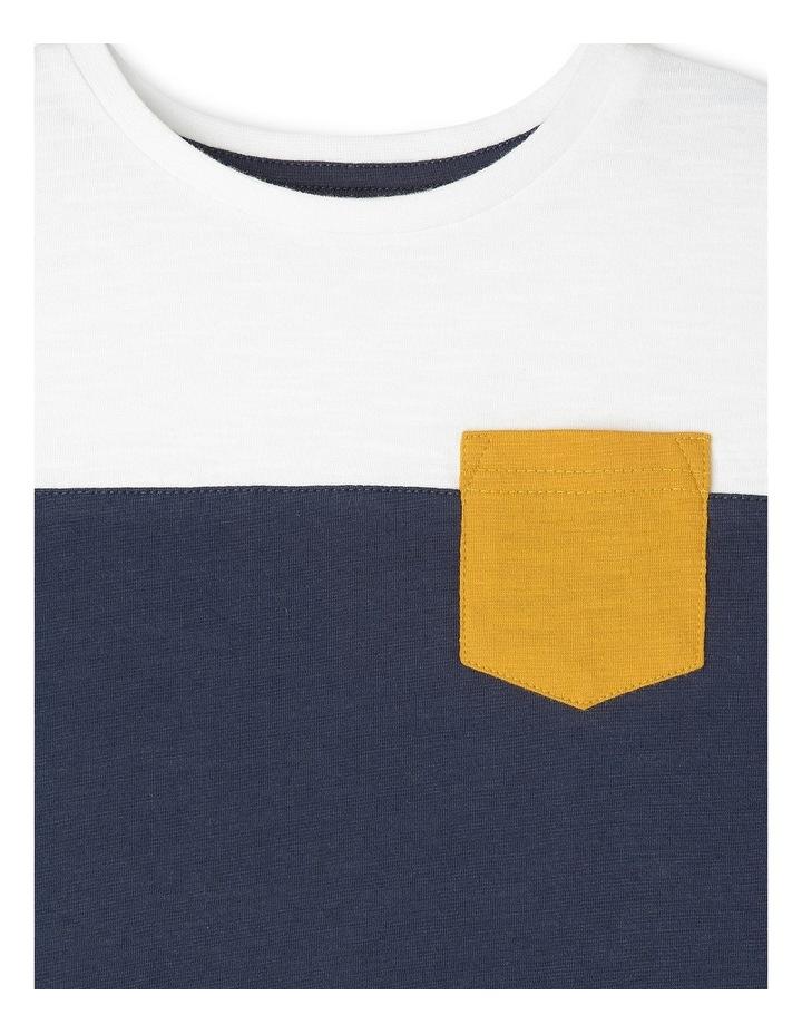 Jake Short Sleeve Tee With Contrast Stripe Sleeves Navy/Ivory/Mustard Boys 1-6 image 2