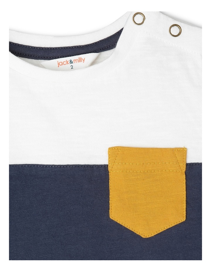 Jake Short Sleeve Tee With Contrast Stripe Sleeves Navy/Ivory/Mustard Boys 1-6 image 3
