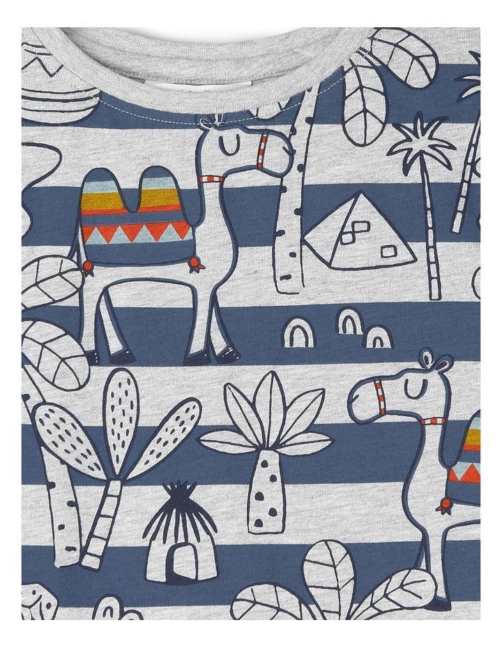 Hugo Tee-Greymarle/Blue Printed Stripe Camel Yardage image 2