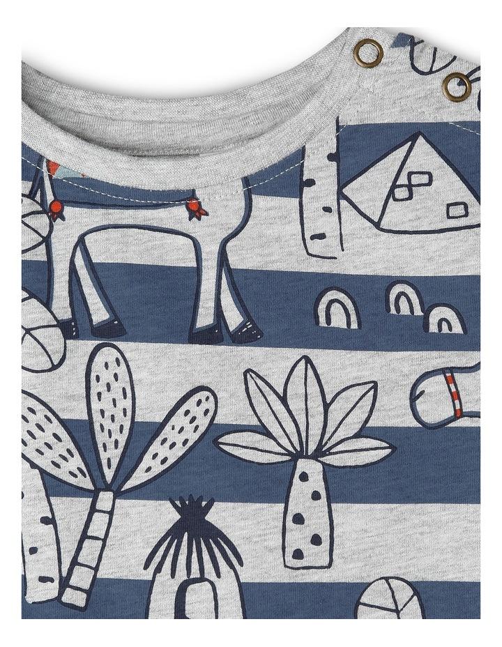 Hugo Tee-Greymarle/Blue Printed Stripe Camel Yardage image 3