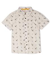 Jack & Milly - Dave Woven Button Through Short Sleeve Shirt - Llama Print