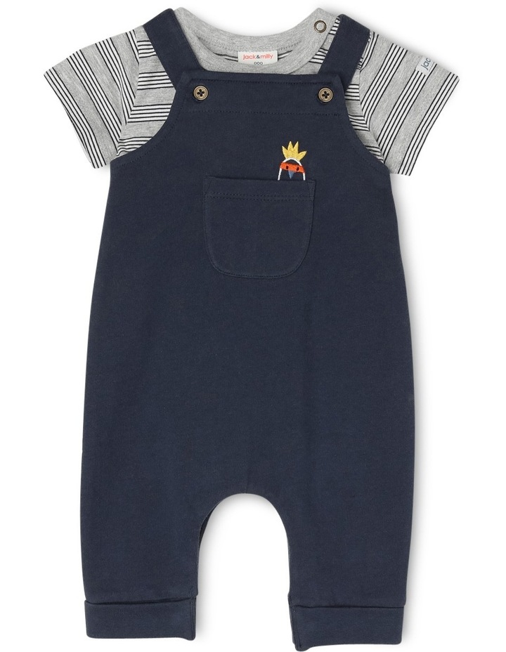 Billy Knit Long Leg Overall & Tee Set - Navy Pocket Cockatoo image 1