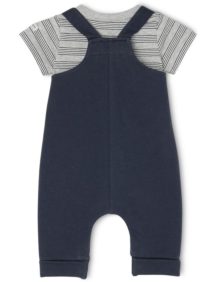 Billy Knit Long Leg Overall & Tee Set - Navy Pocket Cockatoo image 2