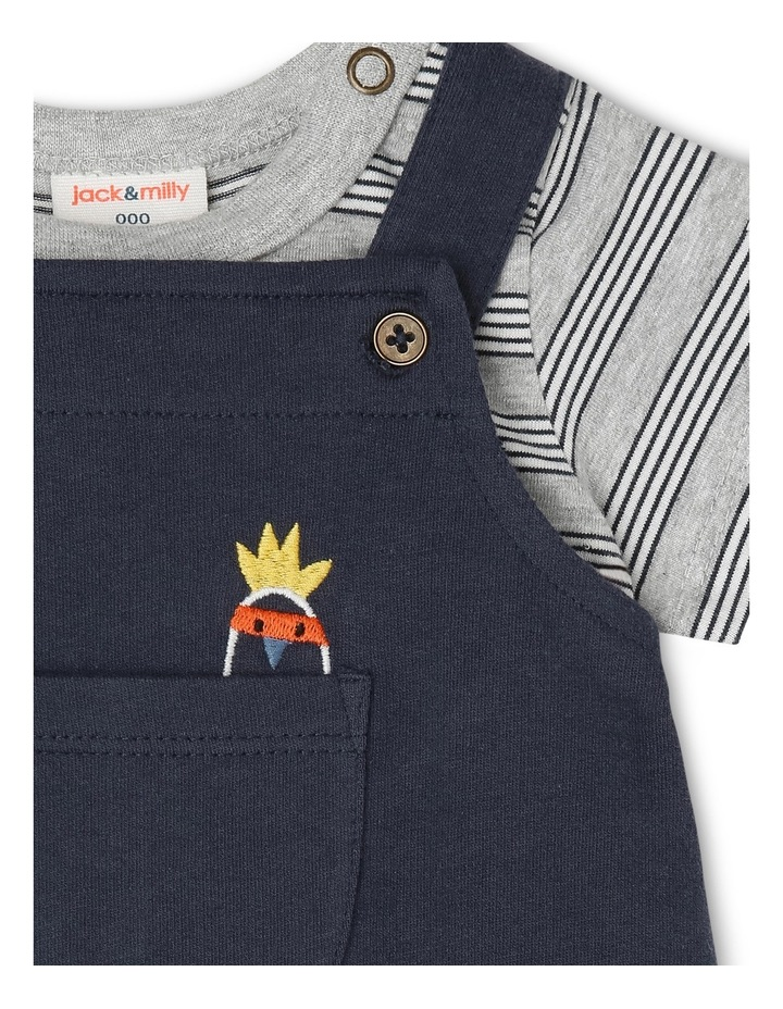 Billy Knit Long Leg Overall & Tee Set - Navy Pocket Cockatoo image 3