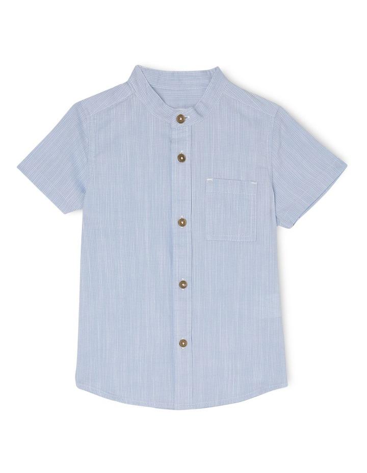 Ethan Grandpa Collar Short Sleeve Shirt-Pale Blue image 1