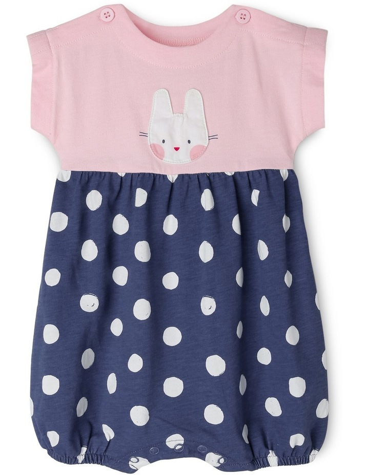 Elki Knit Rompoer with Bunny Applique - Pink/Navy MNS19005 image 1