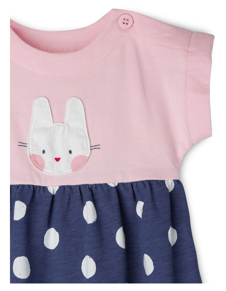 Elki Knit Rompoer with Bunny Applique - Pink/Navy MNS19005 image 2