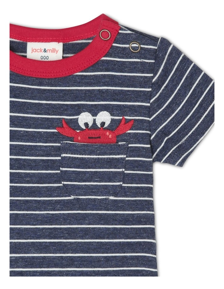 Oscar Short Sleeve Striped Bodysuit with Embroidered Crab image 2