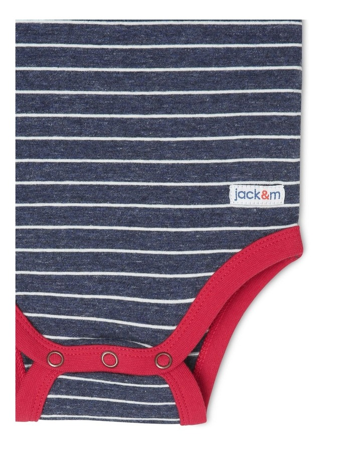 Oscar Short Sleeve Striped Bodysuit with Embroidered Crab image 3
