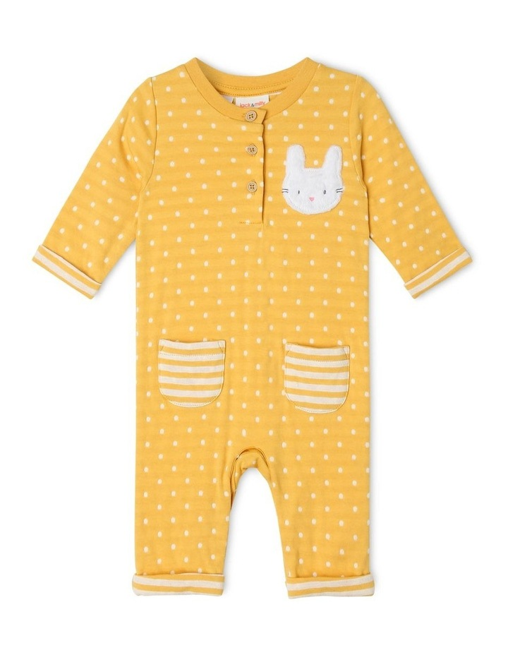 Bella Double-Knit Coverall with Fur Bunny Appliqu image 1