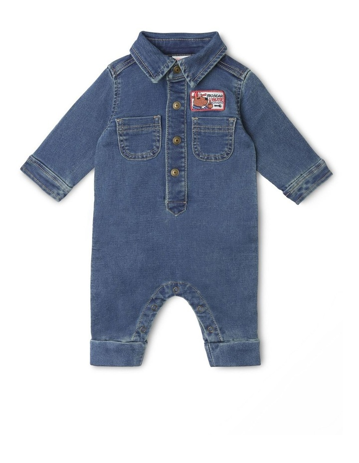 Mack Knit Denim Boiler-Suit with Front Button Opening image 1