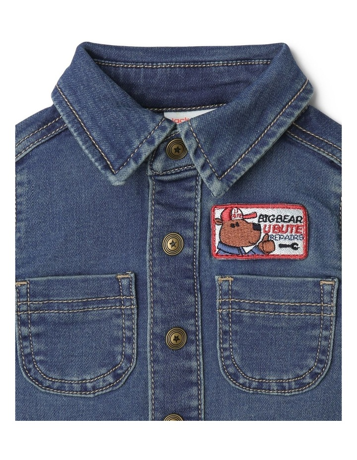 Mack Knit Denim Boiler-Suit with Front Button Opening image 2