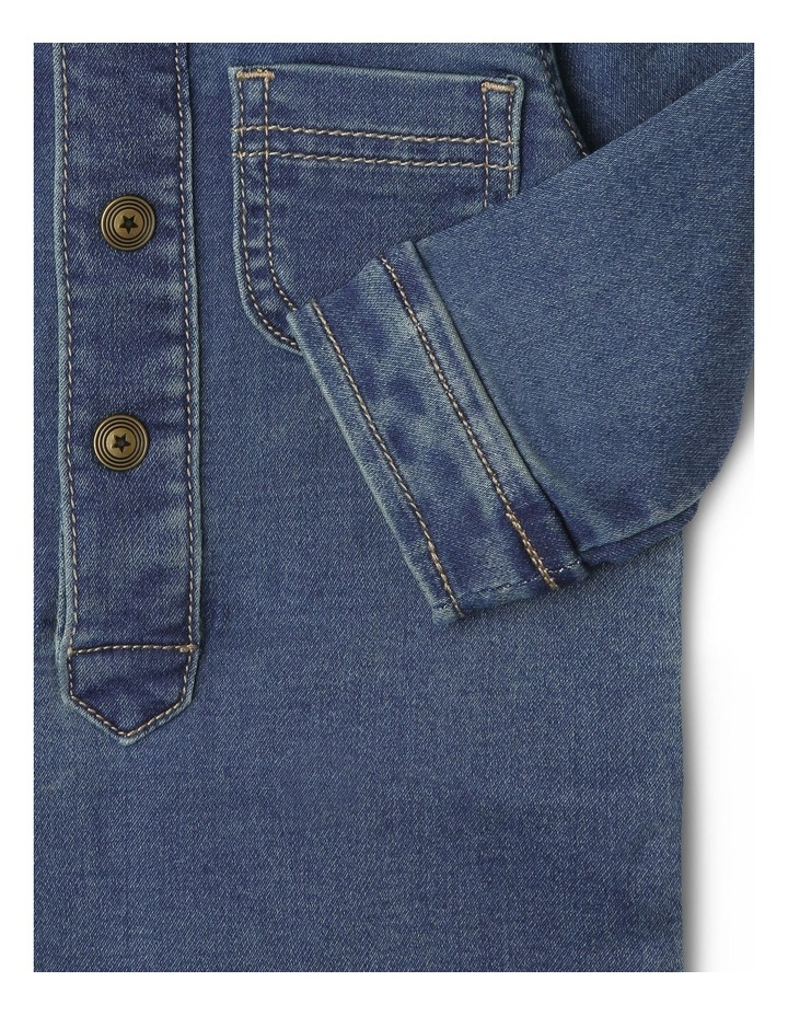 Mack Knit Denim Boiler-Suit with Front Button Opening image 3