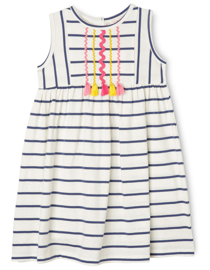 Lg Meggie Stripe Dress With Ric Rac And Tassels-Navy/Coconut. image 1