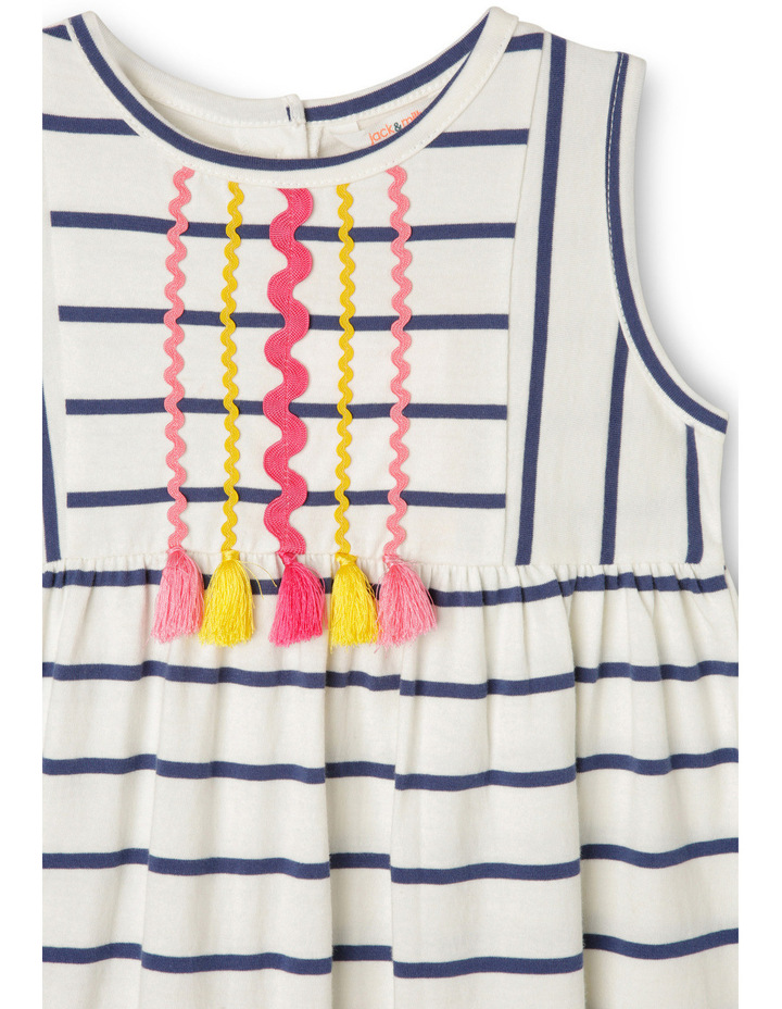 Lg Meggie Stripe Dress With Ric Rac And Tassels-Navy/Coconut. image 2