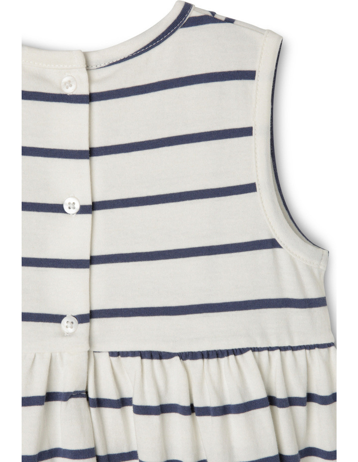 Lg Meggie Stripe Dress With Ric Rac And Tassels-Navy/Coconut. image 3