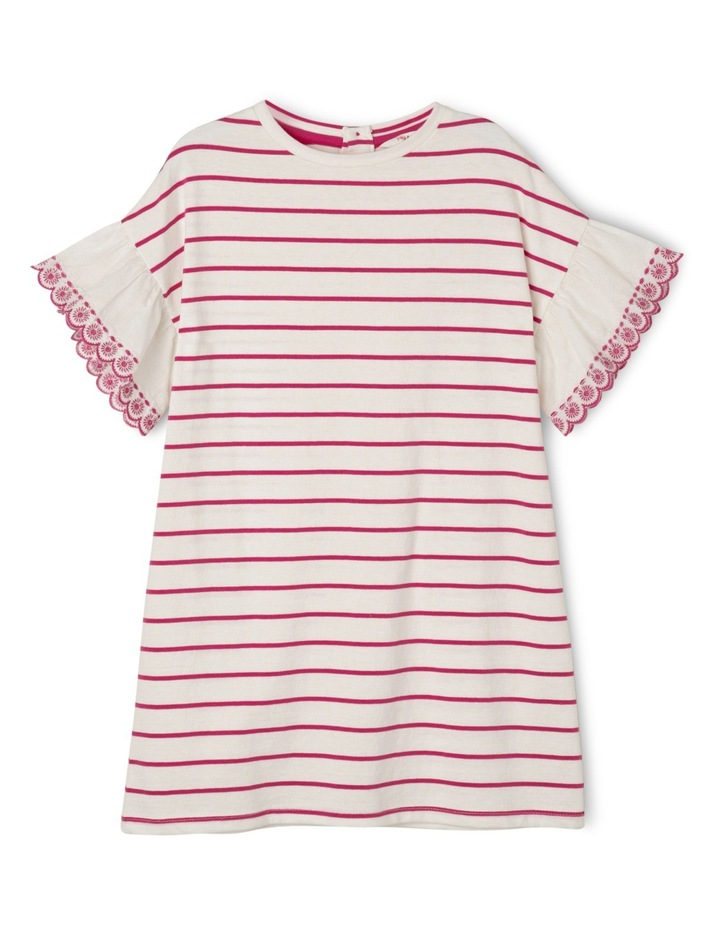 Emily Broderie Frill Sleeve Stripe Knit Dress - Hot Pink / Coconut image 1