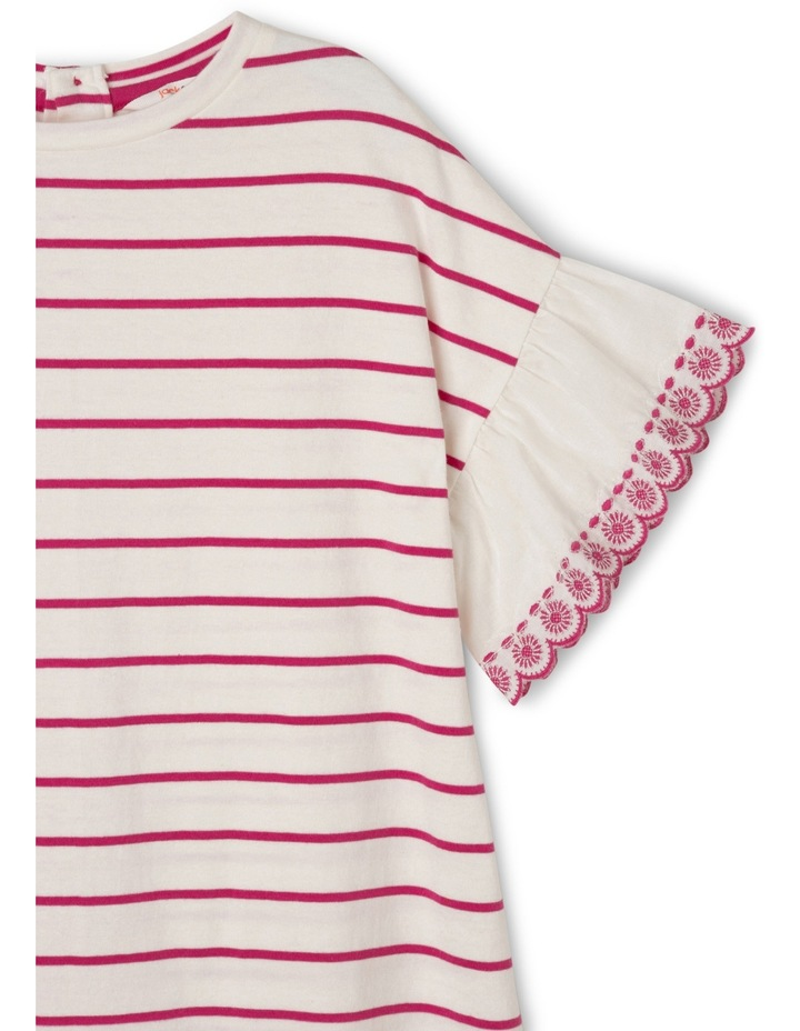 Emily Broderie Frill Sleeve Stripe Knit Dress - Hot Pink / Coconut image 2