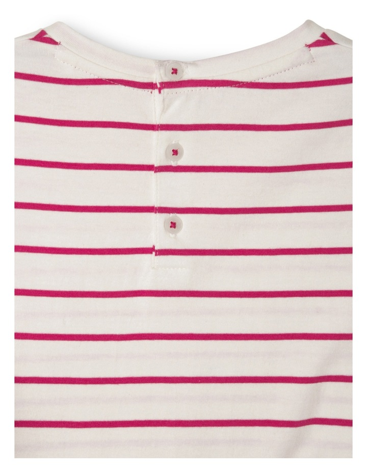 Emily Broderie Frill Sleeve Stripe Knit Dress - Hot Pink / Coconut image 3
