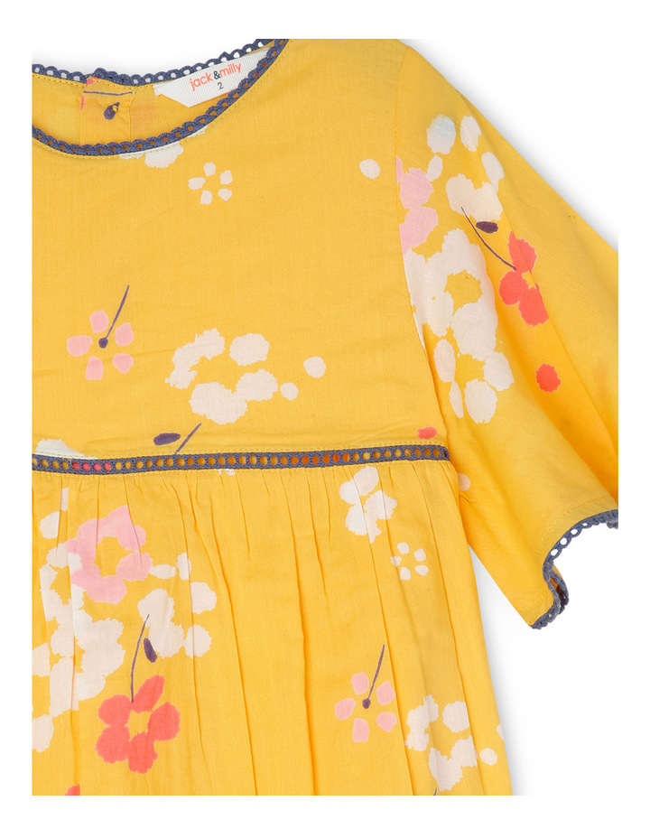 Annabell Woven Dress with Lace Trim - Yellow Floral image 2