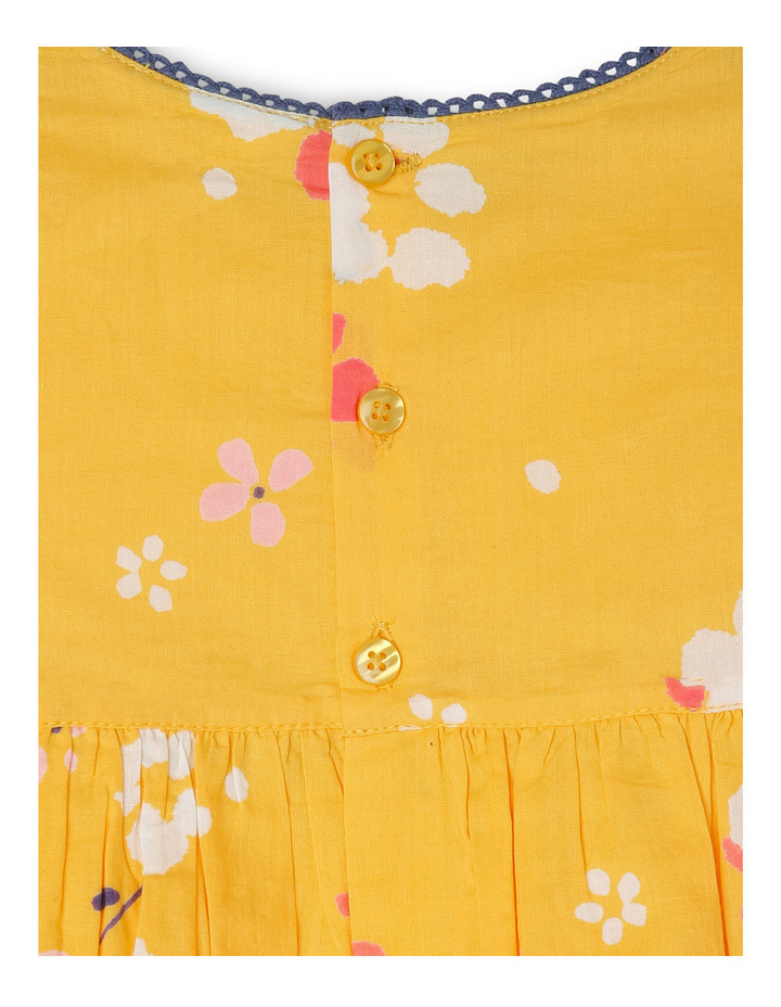 Annabell Woven Dress with Lace Trim - Yellow Floral image 3