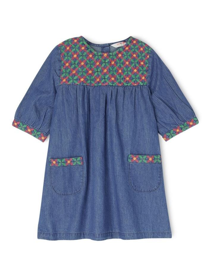 Mia Chambray Short Sleeve Dress with Embroidered Yoke - Indigo image 1