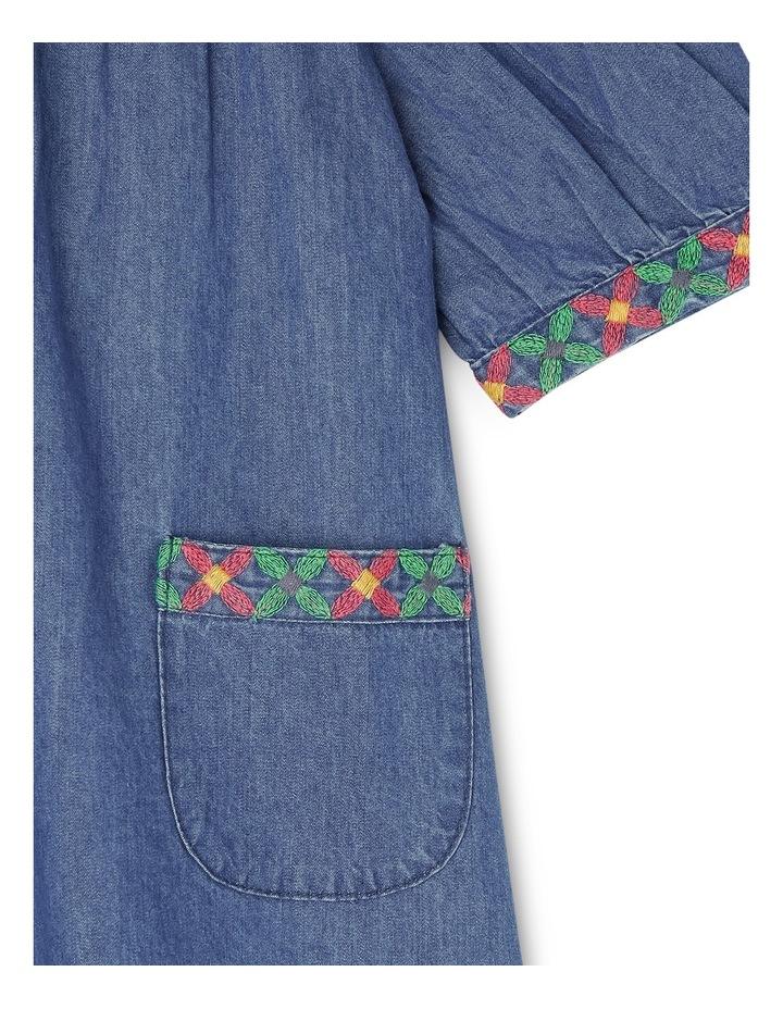 Mia Chambray Short Sleeve Dress with Embroidered Yoke - Indigo image 2