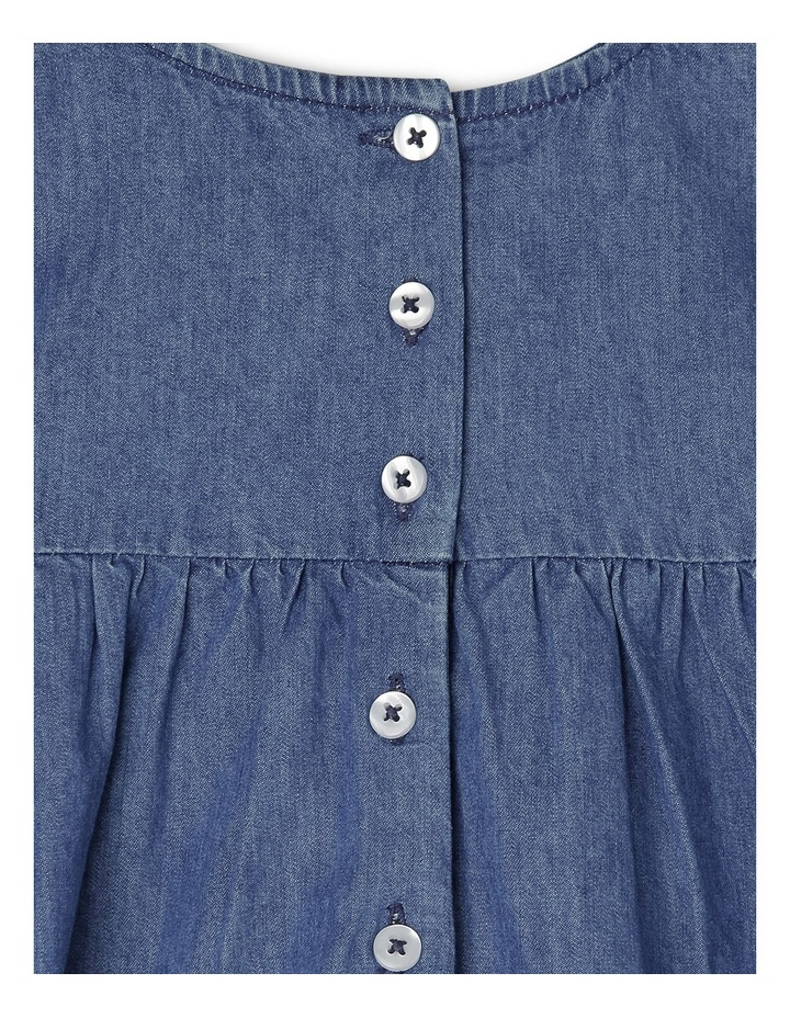 Mia Chambray Short Sleeve Dress with Embroidered Yoke - Indigo image 3