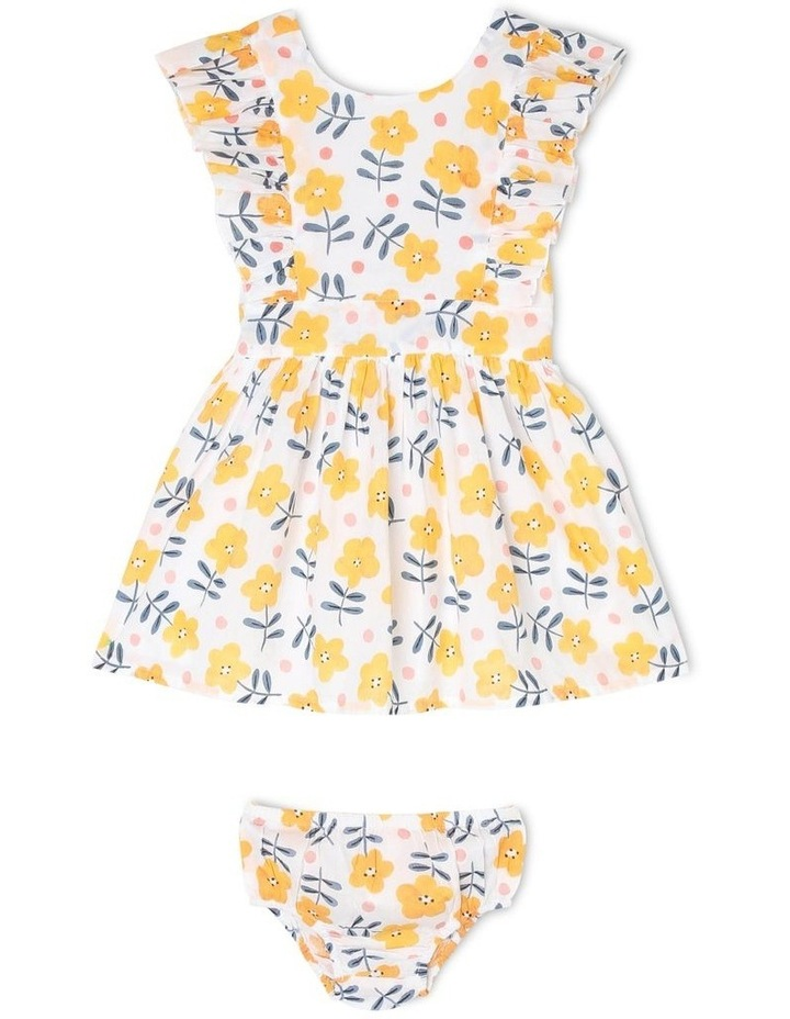 Josie Woven Pinafore Dress With Frill Sleeves image 1