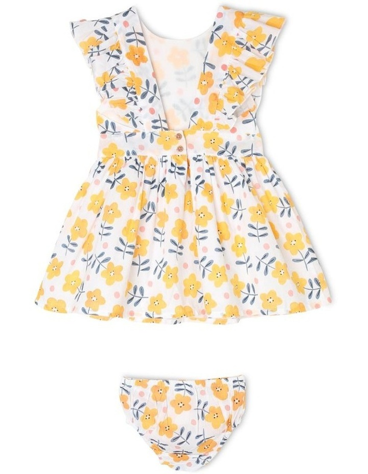 Josie Woven Pinafore Dress With Frill Sleeves image 2