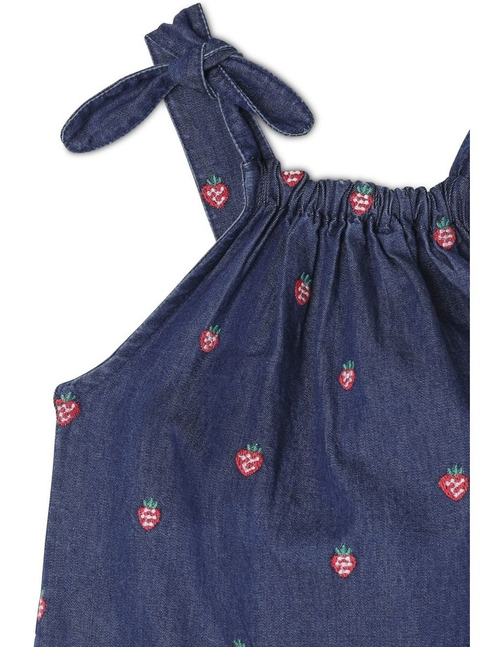 Mia Chambray Playsuit With Embroidery and Bow Detail image 3
