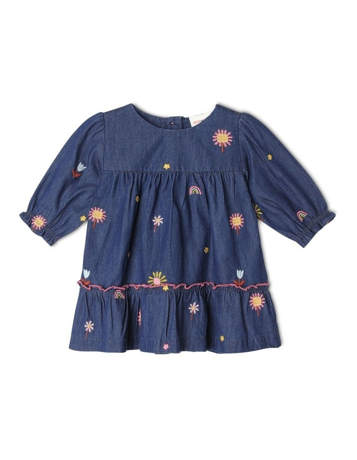 Sadie Long Sleeve Chambray Tiered Dress With Floral Embroidery image 1
