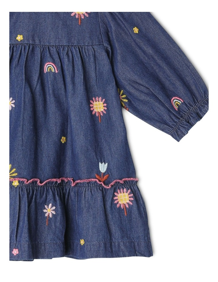 Sadie Long Sleeve Chambray Tiered Dress With Floral Embroidery image 3