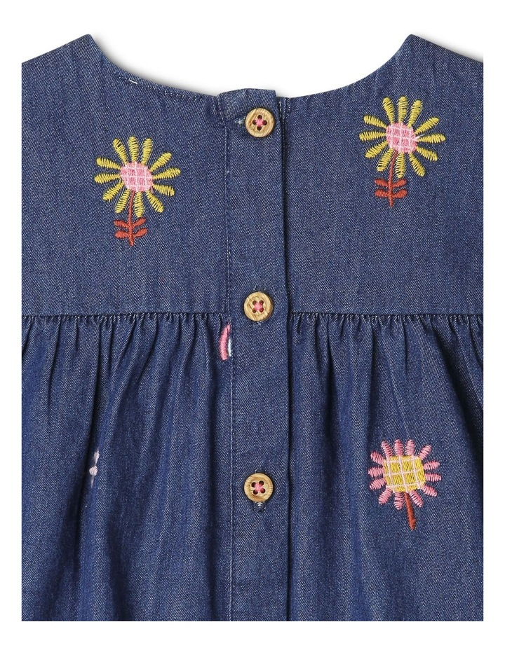Sadie Long Sleeve Chambray Tiered Dress With Floral Embroidery image 4