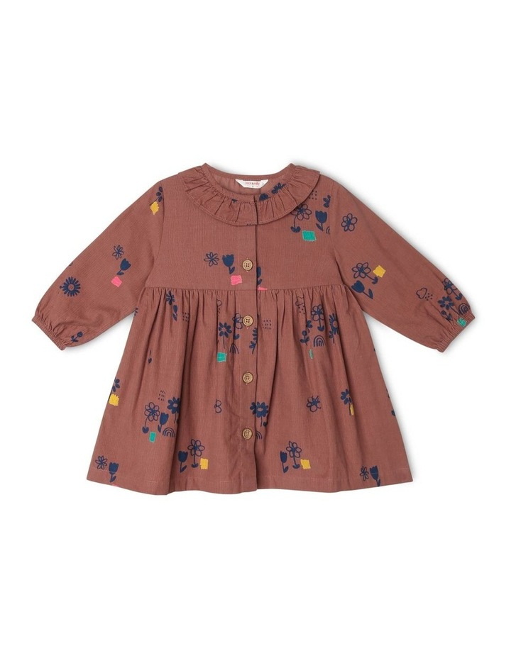 Marley Long Sleeve Babycord Dress with Frill Neck image 1