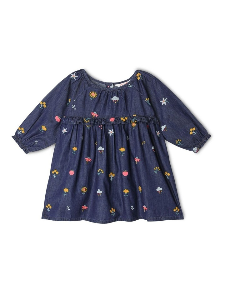 Mia Long Sleeve Chambray Embroidered Dress with Frill image 1