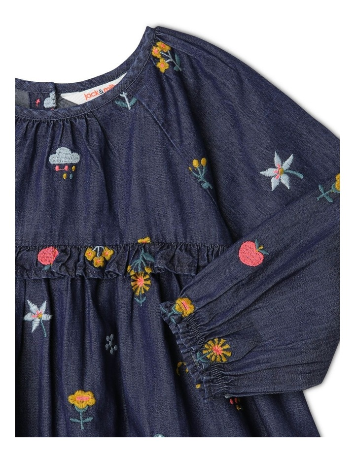 Mia Long Sleeve Chambray Embroidered Dress with Frill image 2