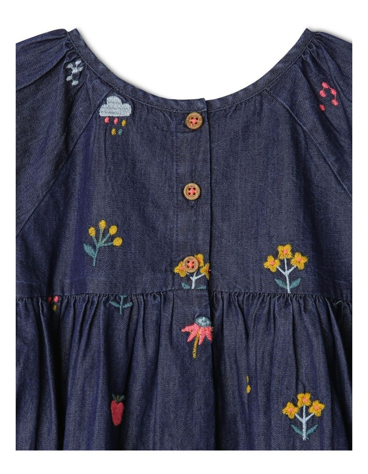 Mia Long Sleeve Chambray Embroidered Dress with Frill image 3