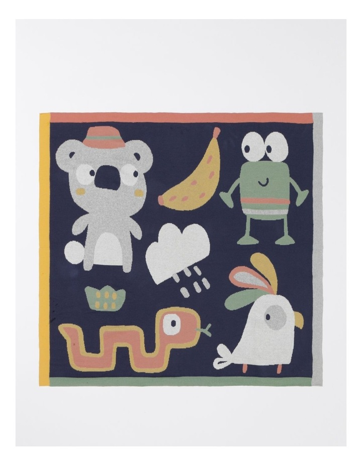 Organic Jacquard Blanket in Navy image 1