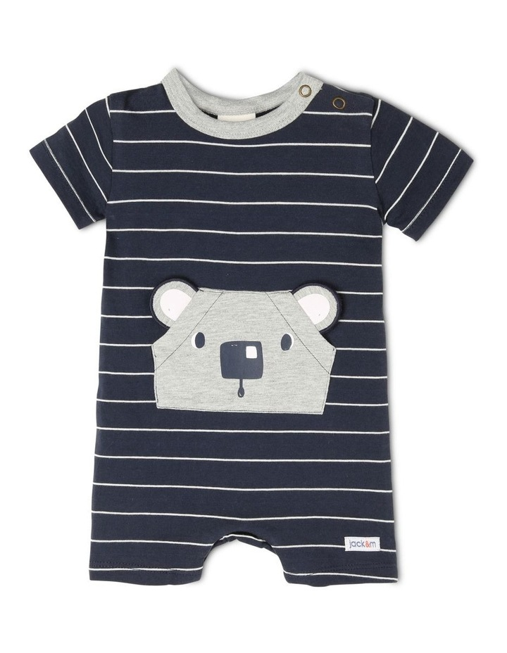 Louie Striped Romper With 3D Koala Pocket image 1