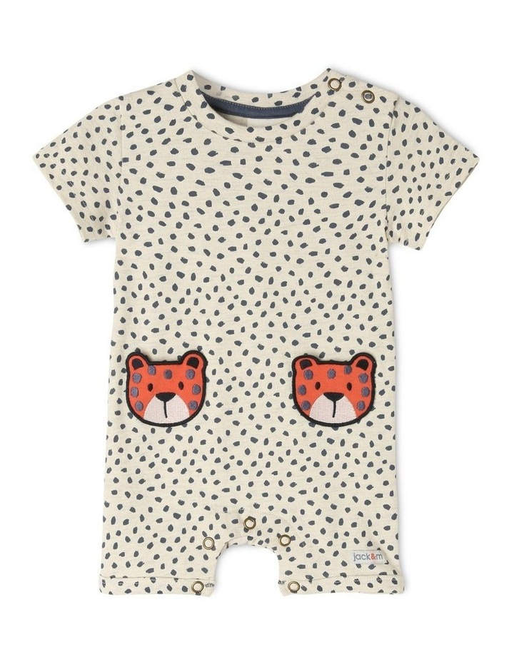 Ollie Knit Romper With 3D Cheetah Pockets image 1