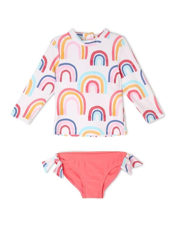 Coco Rainbow Long Sleeve Rash Vest and Brief Set image 1