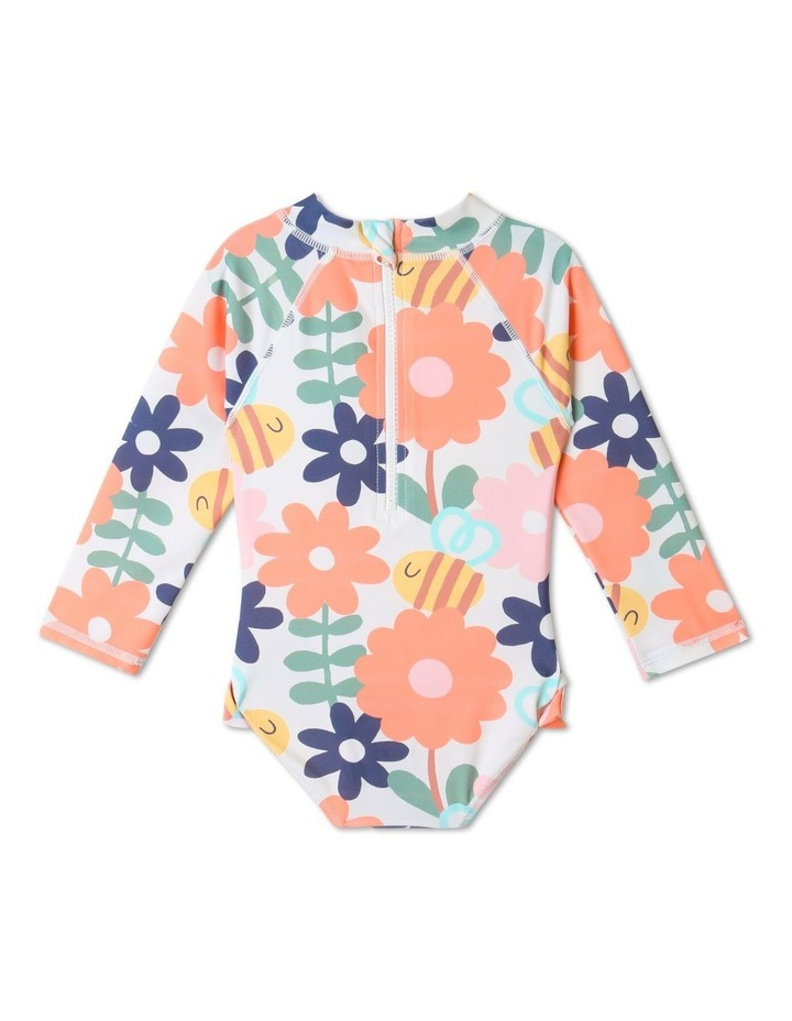 Clover Floral Long Sleeve One Piece Bather Multicolour image 5
