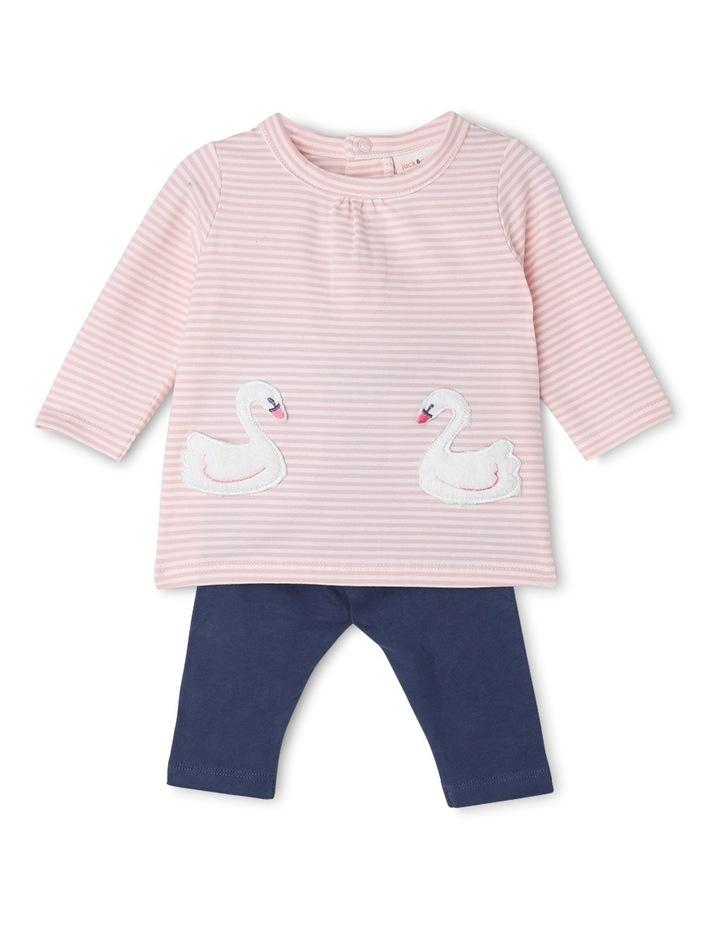 Mila Gathered Neck Knit Dress And Legging Set With Swan Pockets image 1