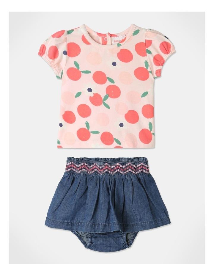 Pearl Puff Sleeve Top & Chambray Skirt Set image 1