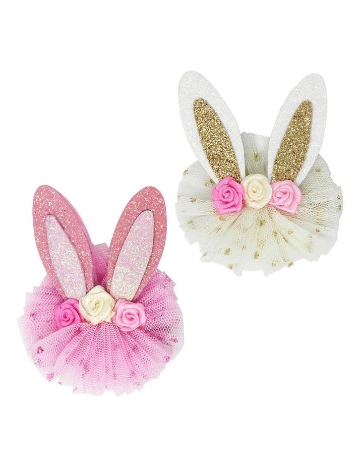 Floral bunny hairclips image 1