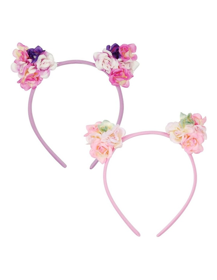 Pink Poppy Floral Cat Ear Headband image 1