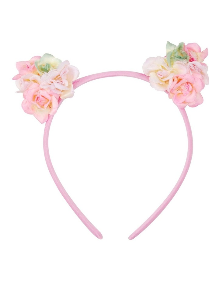Pink Poppy Floral Cat Ear Headband image 2