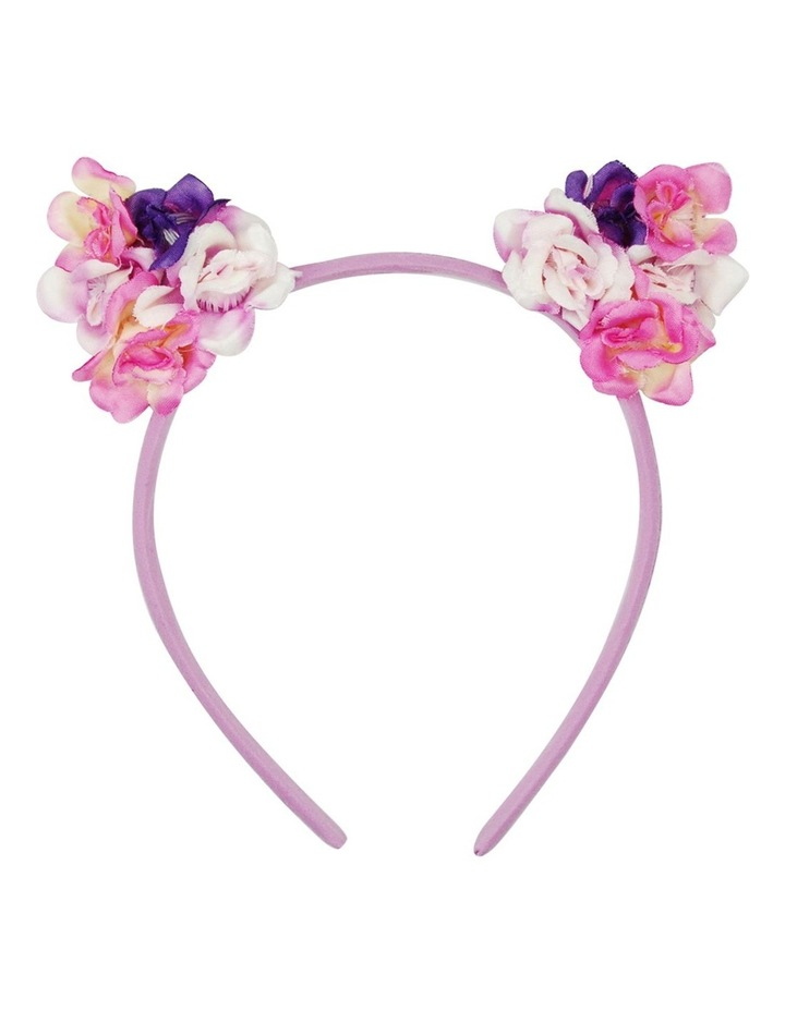 Pink Poppy Floral Cat Ear Headband image 3